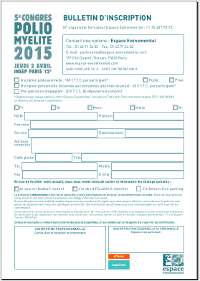 Congrès Polio 2015 Coupon inscription